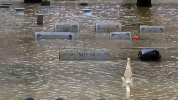 Flooded cemetery after storms