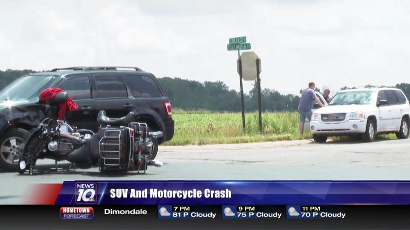 SUV and Motorcycle Crash
