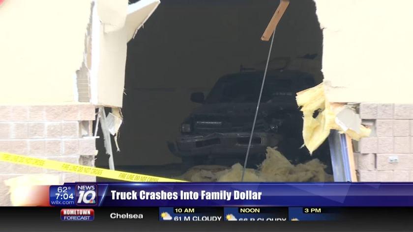 Truck crashes into Lansing Family Dollar
