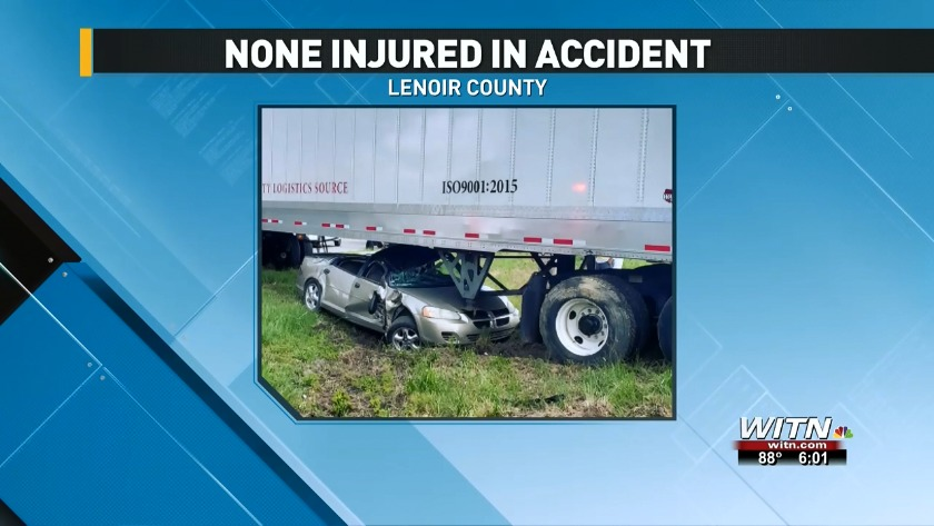 No one injured in accident with a car, 18-wheeler