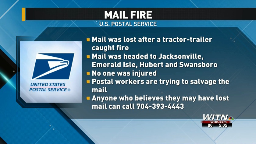 Mail headed to Eastern Carolina lost after tractor-trailer fire