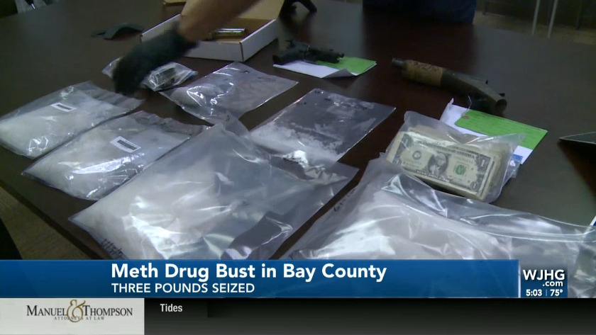 Two arrested after seizure of three pounds of meth, guns