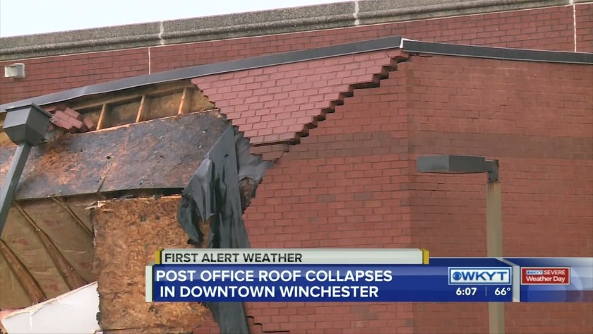 Watch Post Office Roof Collapses In Downtown Winchester