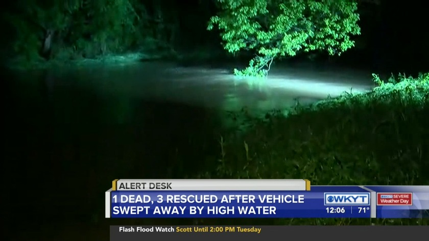 WATCH 1 dead, 3 rescued after vehicle swept away by high water