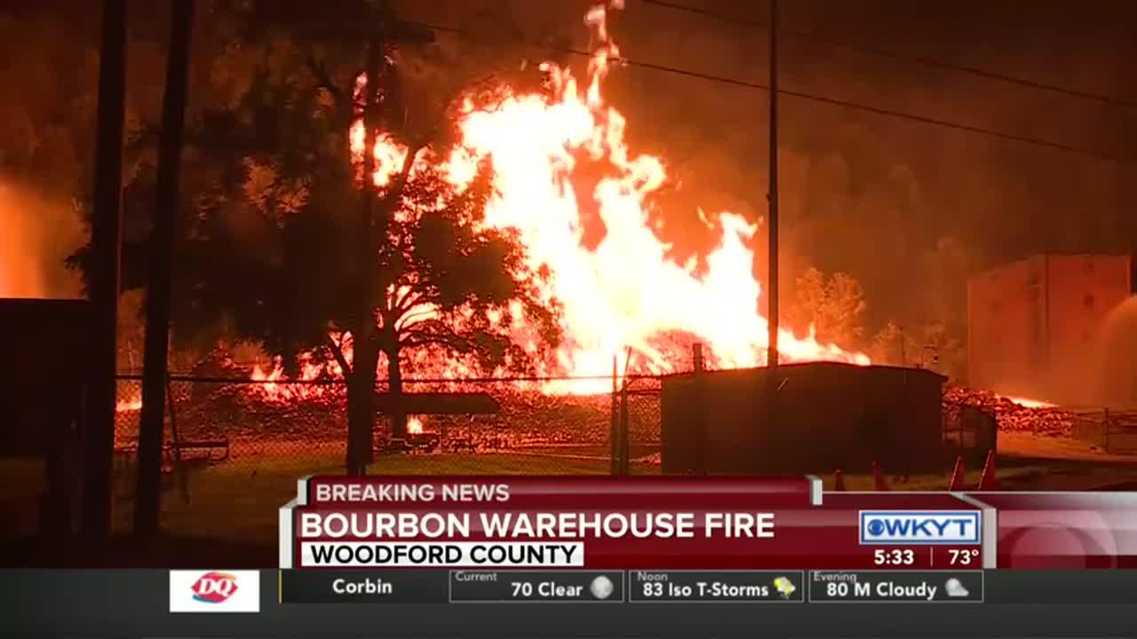 Major fire burns 2 Jim Beam bourbon warehouses in Woodford
