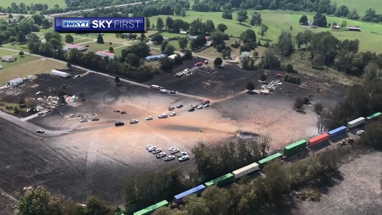 WATCH   WKYT SkyFirst flies over explosion scene
