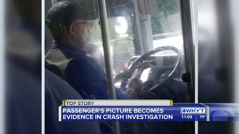 Photo of driver on cellphone submitted as evidence in