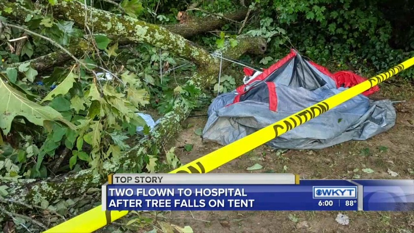 WATCH Several injured after tree falls on tent at campground