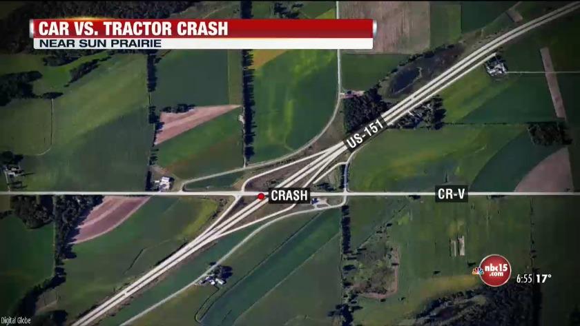 Car vs tractor crash in Sun Prairie