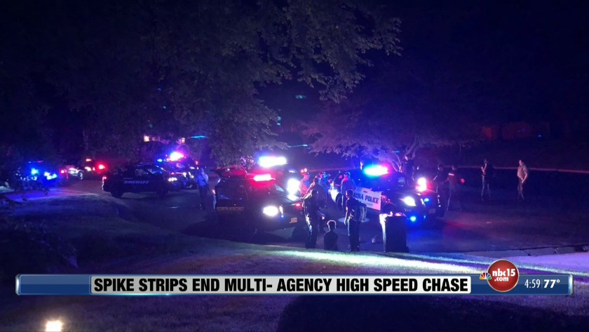 Police chase ends in two arrests after suspect drives at officers