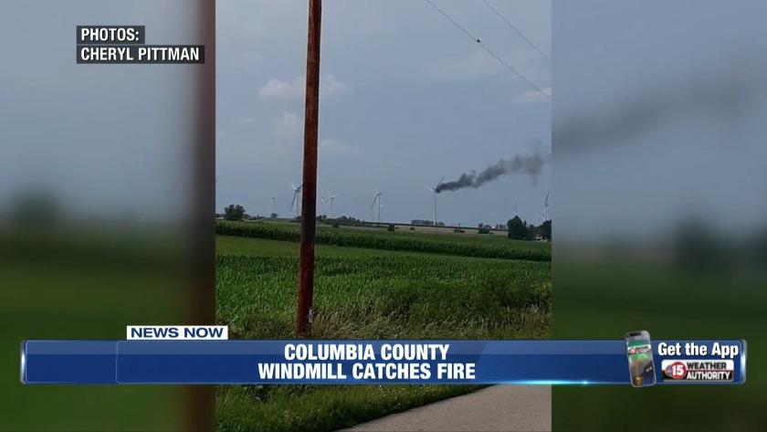 Wind mill catches fire in Columbia Co