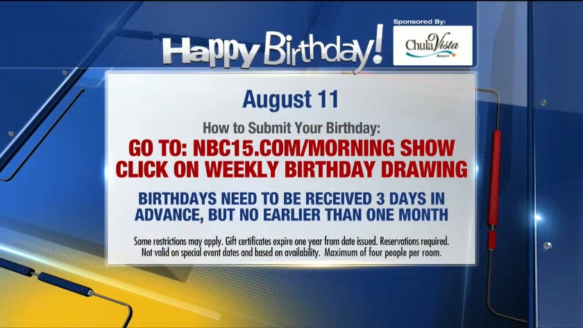 Birthdays for Sunday, Aug  11