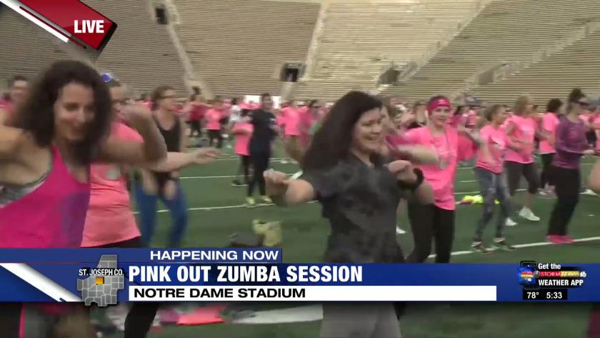 Women Enjoy Pink Out Zumba At Notre Dame Stadium