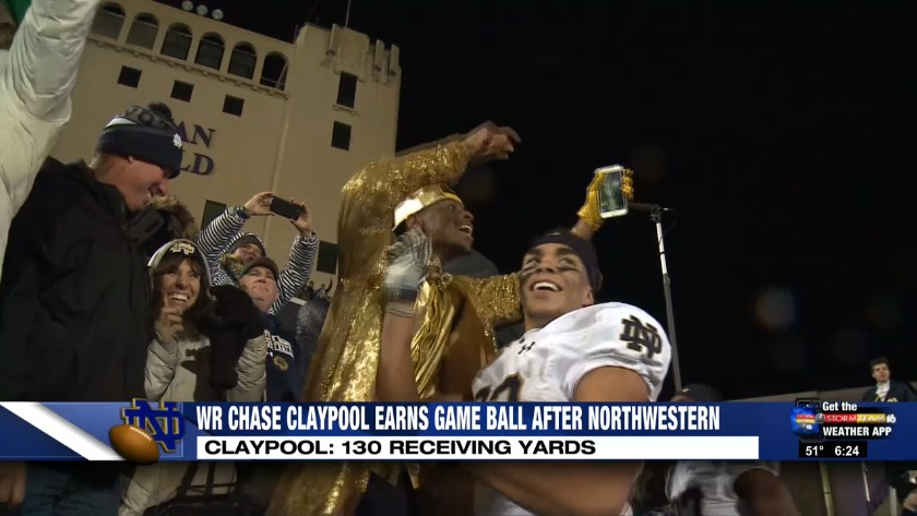 irish wr chase claypool earns game ball after 31 21 win over northwestern