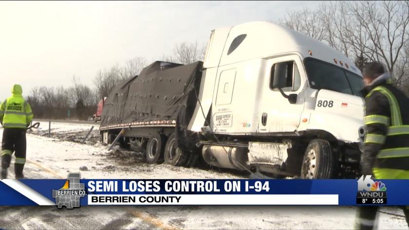 detailing 8e6da a469f I-94 semitrailer crashes into median in Buchanan Township