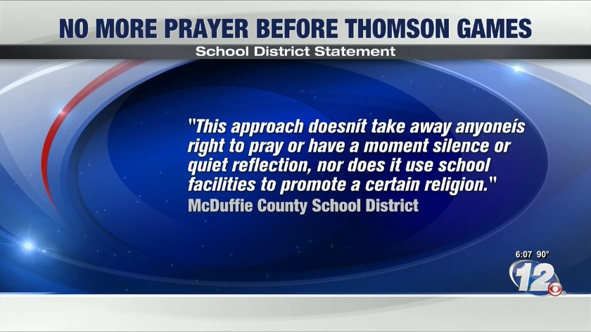 UPDATE | Thomson High School to end pre-football game prayer