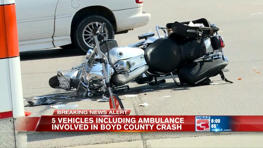 UPDATE: Man dies after motorcycle crashes into ambulance at Boyd