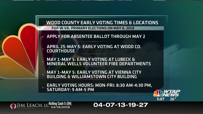 Wood Co  early voting times and locations for May 8 W Va
