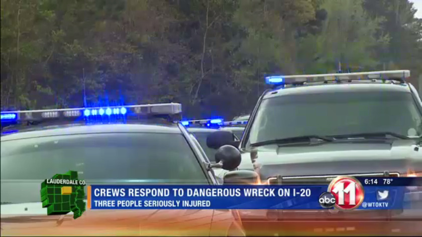 3 people injured after a dangerous accident on I-20/59
