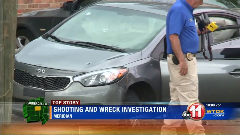 Police investigate shooting, car wreck