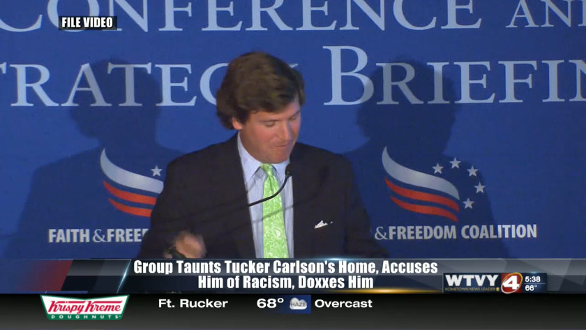 Protesters target home of Fox News' Tucker Carlson