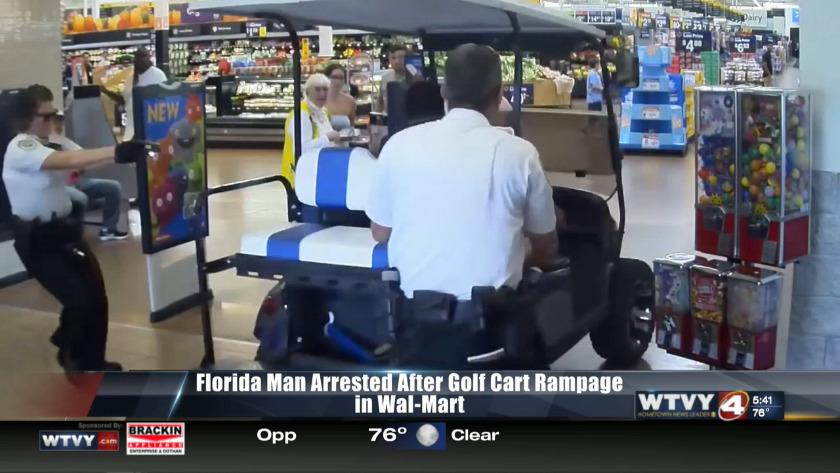 Florida man goes on golf cart rampage inside Wal-Mart