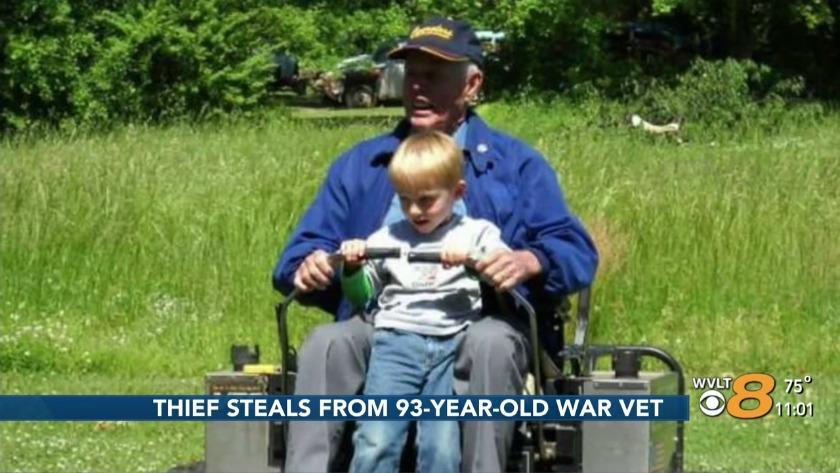 Thieves steal 93-year-old war vet's lawn mower, memories