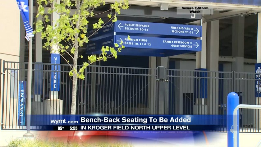 Bench-back seating to be added in Kroger Field North Upper Level